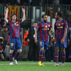 Barcelona's Lionel Messi (left) celebrates but he will not be playing against a joint Israeli-Palestinian team