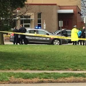The scene at the Jewish community centre after the shooting (AP/Action News)