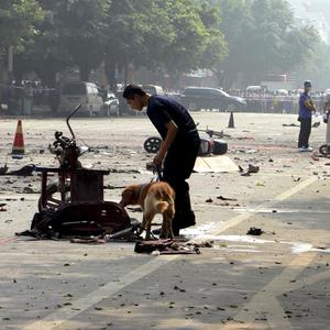 The site of an explosion outside Balijie Primary School in Lingchuan county, China (AP)