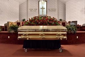 The casket of George Floyd (Ed Clemente/The Fayetteville Observer/AP)