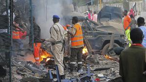 The aftermath of the car bomb in Mogadishu (AP)