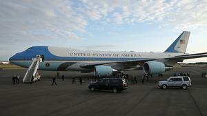 Air Force One on the tarmac at Prestwick airport in Ayrshire(Andrew Milligan/PA)