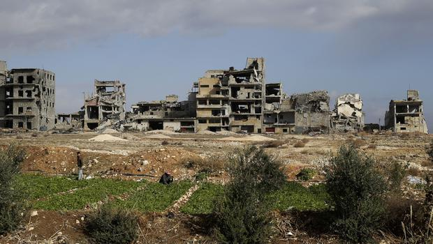 Destroyed building in the village of Al-Amrieh, south of Aleppo, Syria (AP)