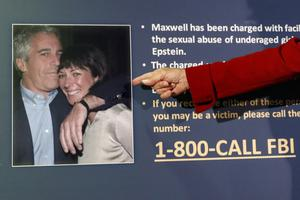Jeffrey Epstein and Ghislaine Maxwell pictured on an FBI poster asking for people to come forward (John Minchillo/AP)