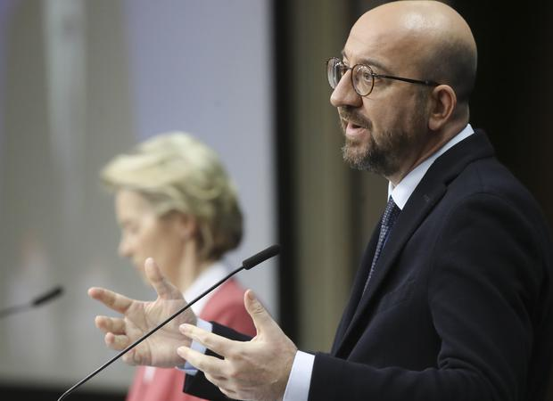Charles Michel, right, and European Commission President Ursula von der Leyen participate in a media conference (Olivier Hoslet, Pool via AP)
