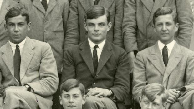 Members of Westcott House at Sherborne, including Alan Turing, centre (Sherborne School/AP)
