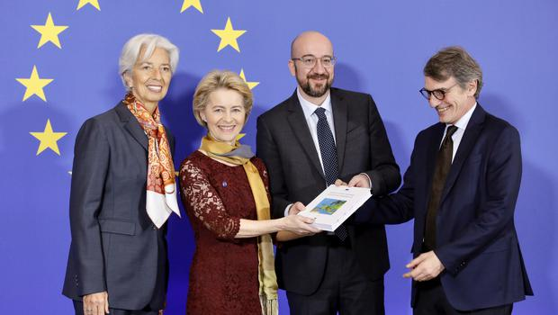 From left, European Central Bank President Christine Lagarde, European Commission President Ursula von der Leyen, European Council President Charles Michel, and European Parliament President Sassoli (Olivier Matthys/AP)