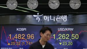 A currency trader near screens showing the Korea Composite Stock Price Index (Kospi) (Lee Jin-man/AP)
