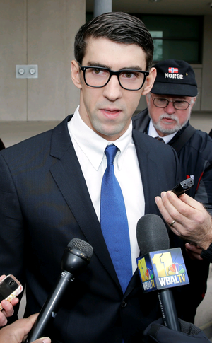 Guilty: Michael Phelps yesterday