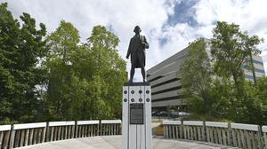 Local indigenous people in Alaska will decide the fate of a statue of Captain James Cook, which stands on a plinth in Resolution Park overlooking the Cook Inlet near 3rd Avenue in Anchorage (Bill Roth/Anchorage Daily News/AP)