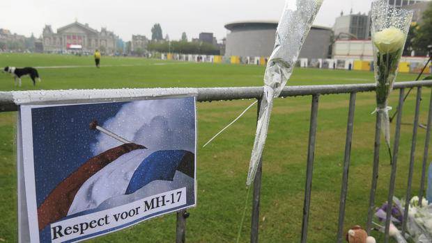 A sign reading respect for MH17 at Museum Square in Amsterdam in 2014 (Margriet Faber/AP)