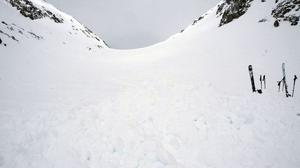 The area where four German skiers were killed by an avalanche (Kantonspolizei Wallis via AP)