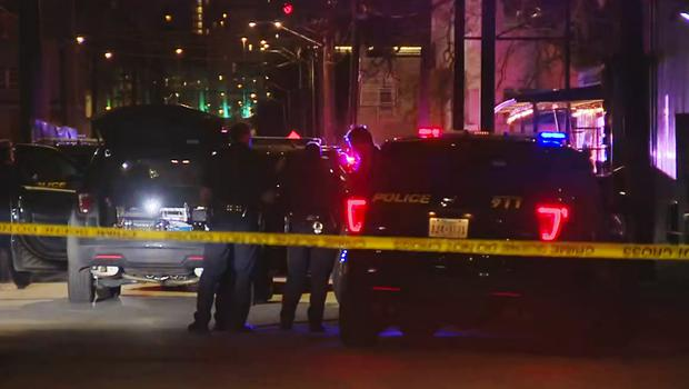 In this image made from video provided by KSAT, San Antonio police officers work the scene of a deadly shooting at the Ventura, a music venue in San Antonio, Texas, Sunday, Jan. 19, 2020. Texas authorities says at least a few people were killed and several others were injured following the shooting during the concert inside the club. (KSAT via AP)