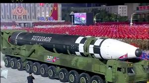 A military parade in North Korea with what appears to be a possible new intercontinental ballistic missile (KRT via AP)