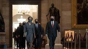 The article of impeachment alleging incitement of insurrection against former President Donald Trump was delivered to the Senate (J. Scott Applewhite, Pool/AP)
