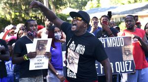 There has been a strong national response, including from this crowd in Georgia's Brunswick, to the death of Ahmaud Arbery (Bobby Haven/The Brunswick News/AP)