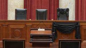 The bench draped in black for the death of Supreme Court Associate Justice Ruth Bader Ginsburg at the Supreme Court in Washington (Fred Schilling/Collection of the Supreme Court/AP)