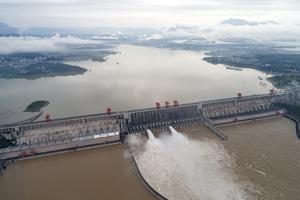 Water flows out from sluiceways at the Three Gorges Dam on the Yangtze River near Yichang in central China's Hubei province (Wang Gang/Xinhua via AP)