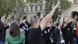 People at a concert by nationalist band Romantic Violence that followed a rally by far right sympathisers, supporting Viktor Orban's policies on migrants (AP)