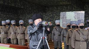 North Korean leader Kim Jong Un inspects the military drill of units of the Korean People's Army (Korean Central News Agency/AP)