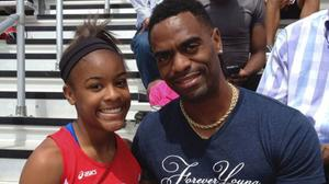 Trinity Gay with her father Tyson Gay (Mark Maloney/Lexington Herald-Leader via AP)