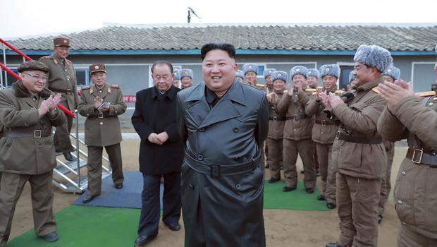 """Kim Jong Un spoke after what was claimed to be a test firing of its """"super-large"""" multiple rocket launcher (KCNA/AP)"""
