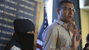 Itemid Al-Matar, left, joins Hamed Rehab, executive director of CAIR-Chicago, at a news conference (Chicago Tribune/AP)