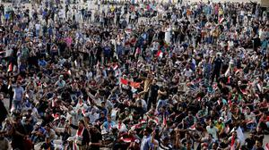 A previous sit-in protest inside Baghdad's highly fortified Green Zone (AP)