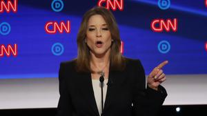 Author Marianne Williamson participates in the first of two Democratic presidential primary debates (Paul Sancya/AP)
