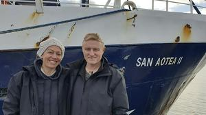Neville and Feeonaa Clifton were given a lift home from the San Aotea II fishing boat (Feeonaa and Neville Clifton via AP)