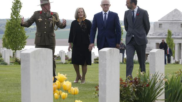 Malcolm Turnbull and his wife Lucy at the military cemetery in northern France (Pascal Rossignol/AP)