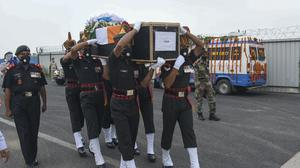 Indian army soldiers carry the coffin of their colleague Sunil Kumar, killed during confrontation with Chinese soldiers in the Ladakh region (Aftab Alam Siddiqui/AP)