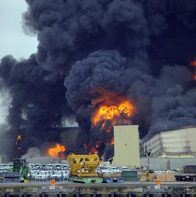 Firefighters tackle the blaze at the Ports of Savannah (AP)