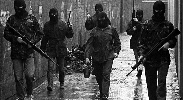 Belfast IRA men with a drogue bomb in 1987