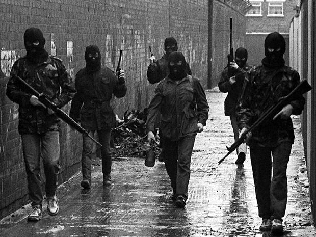 Belfast IRA men on patrol with new drogue bomb in Northern Ireland 1987