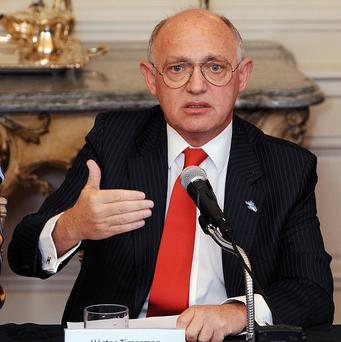 Argentine foreign minister Hector Timerman gestures during a press conference in central London