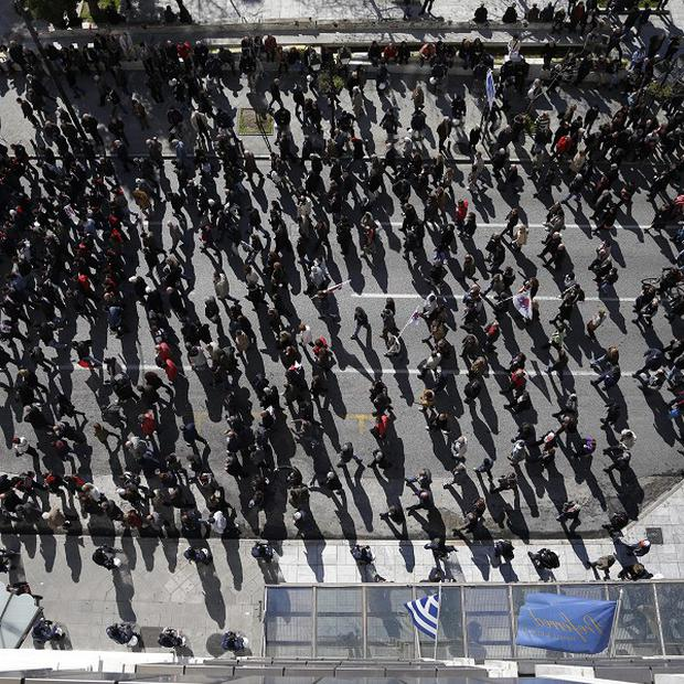 Protesters gather during a demonstration against austerity measures in Athens (AP)