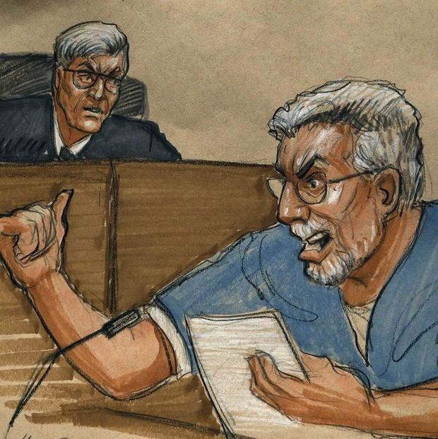 A courtroom sketch shows Drew Peterson address the court during Peterson's sentencing (AP/Tom Gianni)