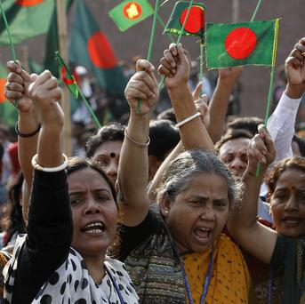 Bangladeshis demand death to Islamic political party leaders on trial for alleged war crimes during the country's 1971 independence war (AP/Pavel Rahman)