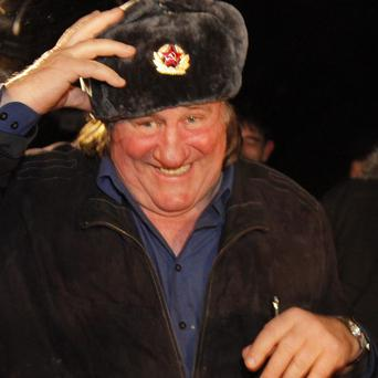 French actor Gerard Depardieu on his arrival in Chechnya (AP)