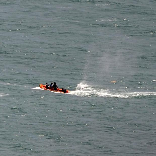 Police in inflatable rubber boats shoot at a shark off Muriwai Beach near Auckland, New Zealand, following a fatal attack on a swimmer (AP)