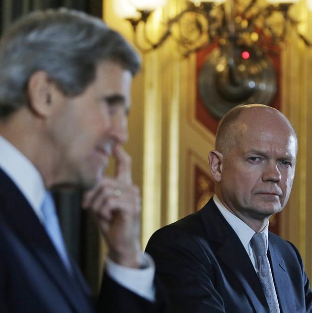 Foreign Secretary William Hague met new US Secretary of State John Kerry in London on Monday