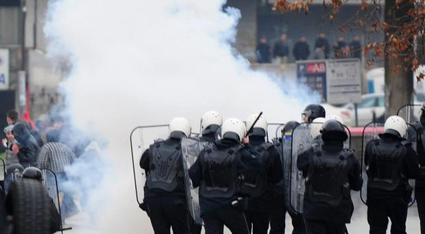 Several people have been injured during a series of protests involving ethnic Macedonians and ethnic Albanians (AP)