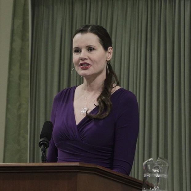Geena Davis addresses the state Assembly at the Capitol in Sacramento, California (AP/Rich Pedroncelli)