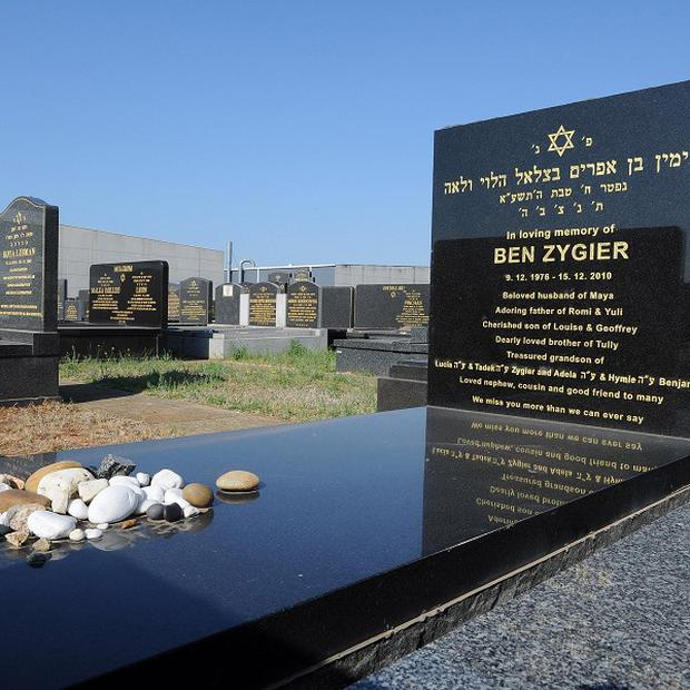 The tombstone of Ben Zygier stands at Chevra Kadisha Jewish Cemetery in Melbourne, Australia (AP)