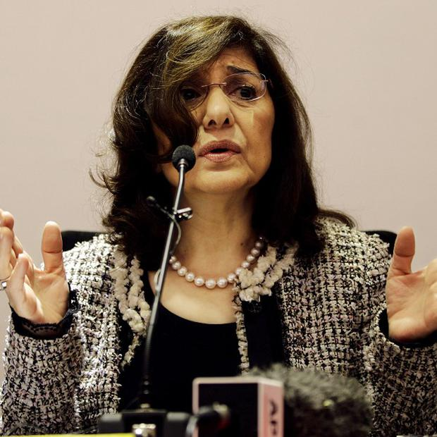 Buthaina Shaaban, special envoy of Syrian president Bashar Assad, addresses a press conference in New Delhi, India (AP)