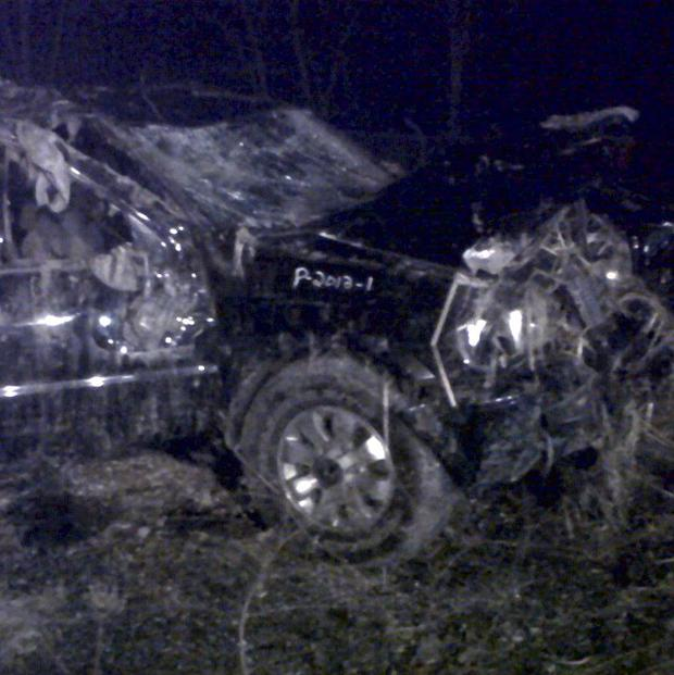 A Honda Passport vehicle which crashed into a guardrail and flipped over into a swampy pond in Warren, Ohio (AP/Tom Sheeran)