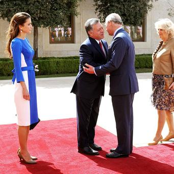 The Prince of Wales and Duchess of Cornwall meet King Abdullah and Queen Rania in Jordan