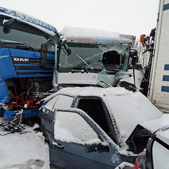 A German autobahn pile-up in the bad weather (AP)