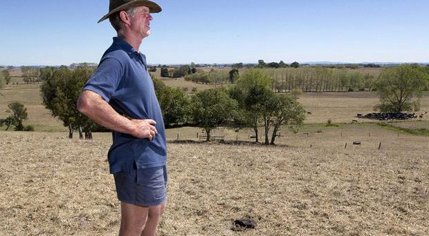 Farmer Peter Brown walks on the dry ground at his dairy farm near Ohinewai, New Zealand (AP)